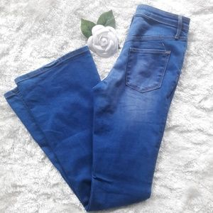 Baby Blue Bells - High Rise Flare Jeans
